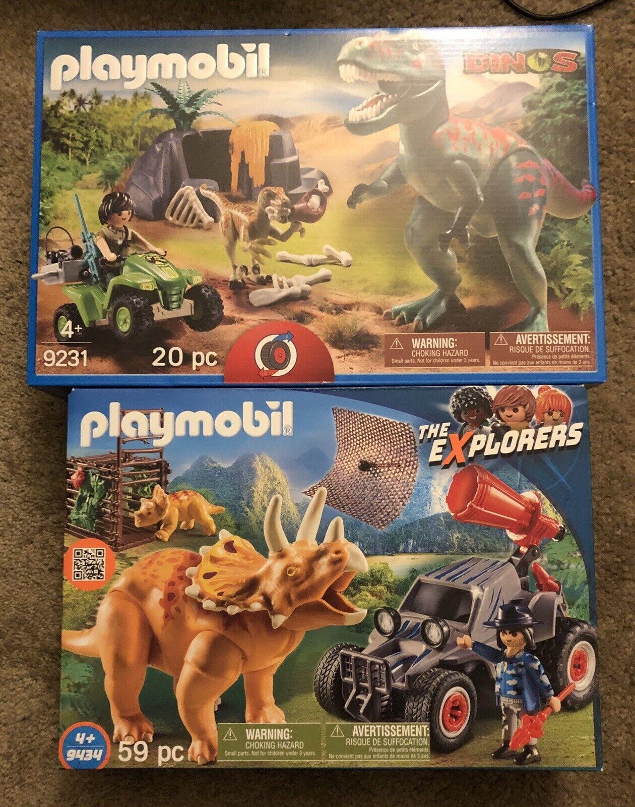 2 Playmobile Ensembles  T-Rex Attaque 9231 & Off roadsr avec Dino Net 9434 nouveau  vendre comme des petits pains