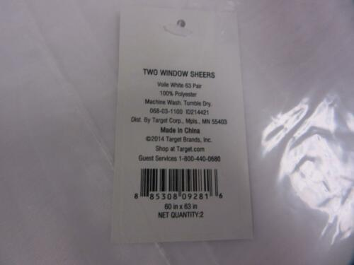 """Pair of Two Window Sheers Voile White 60/"""" x 63/"""" Pair Target Curtains New"""
