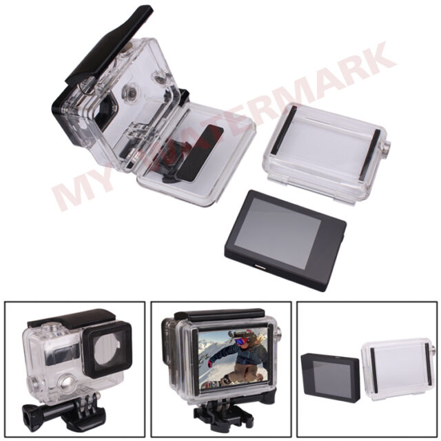 Underwater Waterproof Case+Backdoor Case+LCD Screen BacPac for GoPro HD Hero3+ 4