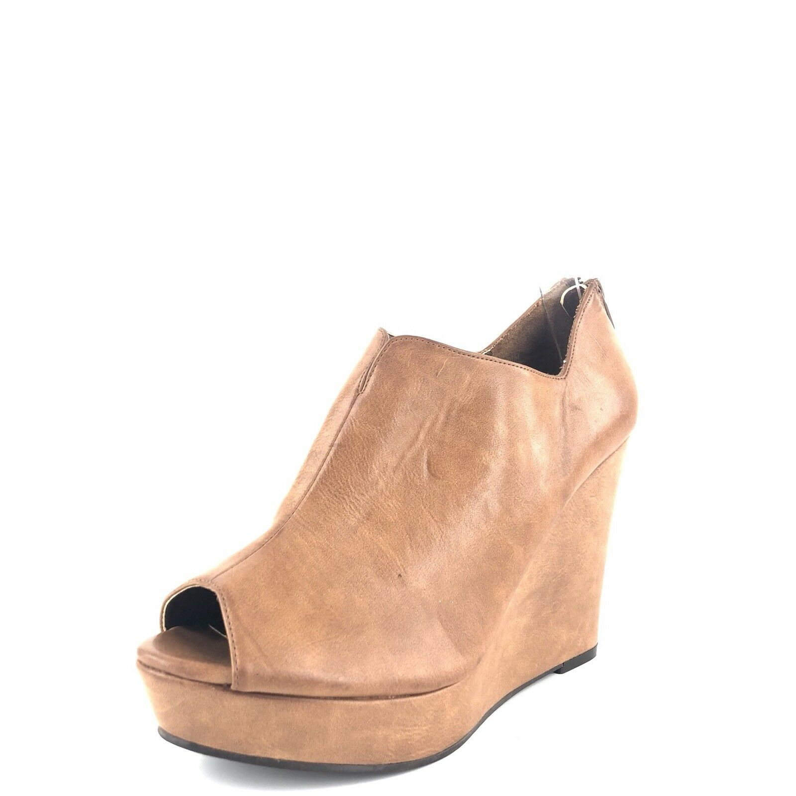 BP.  Womens Heels Wedges Open Toe Tan Leather Size 9.5 M
