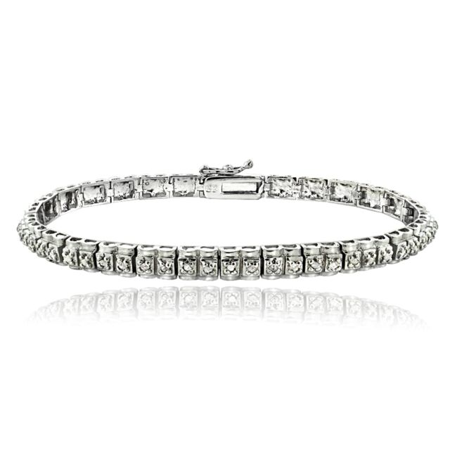 Silver Tone Brass 1/2 Ct Diamond Studded Tennis Bracelet