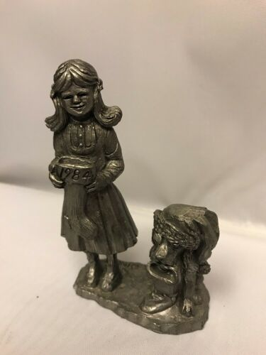 1984 Christmas Michael Ricker Pewter ROBIN GIRL & CHRISTMAS DOG SIGNED NUMBERED