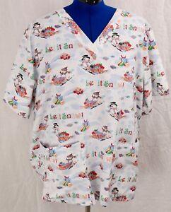 Let-it-Snow-2X-Scrub-Top-Tafford-Snowman-Holiday-Medical-Uniform-Shirt-Plus-2-X