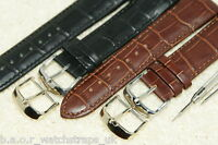 Premier Leather Curved Ends Black Brown Watch Strap 18-20-22mm Bars + Tool