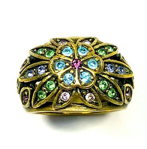 LOVELY-HEIDI-DAUS-BRASS-TONE-SKY-BLUE-LIME-GREEN-RHINESTONE-FLORAL-RING-SIZE-7