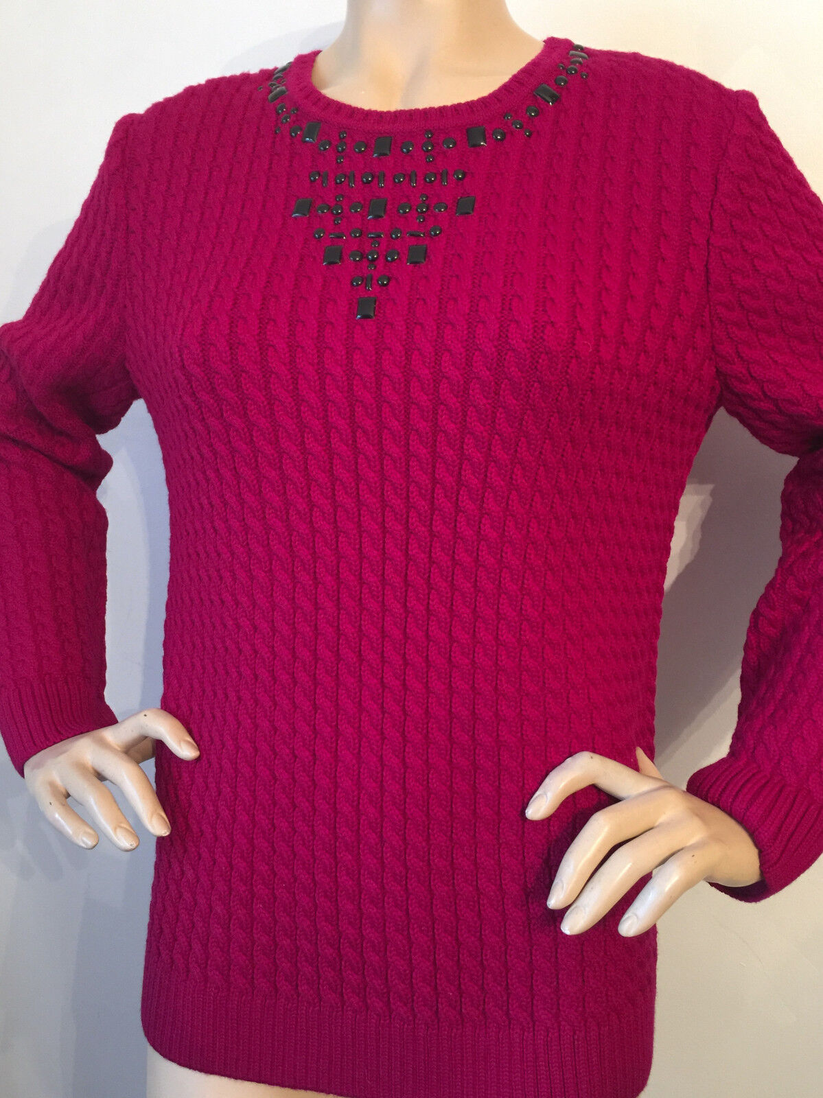 NEW ST JOHN KNIT SIZE S WOMENS SWEATER BOURDEAU CABLE KNIT JEWELS