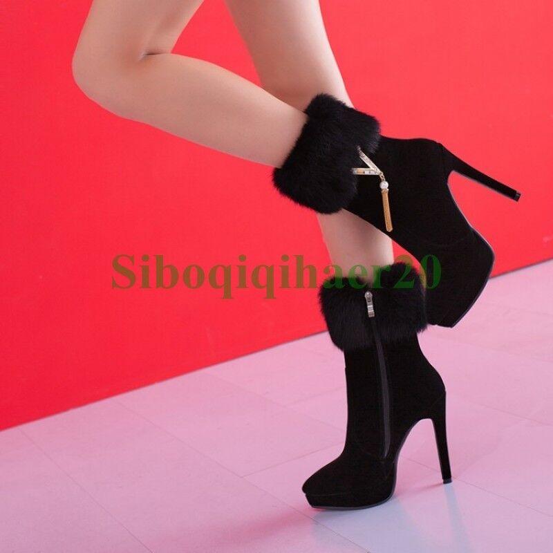 Rabbit Fur Stiletto Heel Tassel Sexy femmes Platform Ankel bottes Winter chaussures SI
