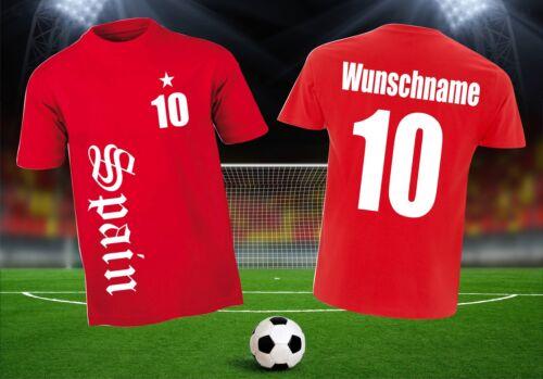 Fußball WM 2018 Fan Shirt Spanien Spain T-Shirt Trikot rot Herren Wunschdruck