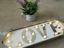 Wooden Love LED Light Up Box Wall Lantern Lamp Plaque Sign Chic Shabby