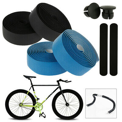 2 PCS Bicycle Handlebar Tape Bar Drop Wrap Cycling Road Bike Anti-Vibration Plug