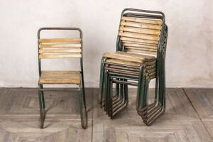 VINTAGE STACKING CHAIRS WITH SLATTED SEAT GREEN RETRO SCHOOL CHAIRS DINING CHAIR