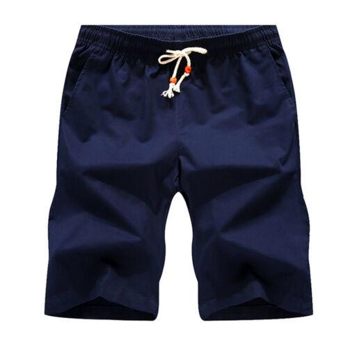 NUOVI Pantaloncini Da Uomo Tinta Unita Elasticizzato Cotone Chino Estate Vacanze Casual Pantaloni