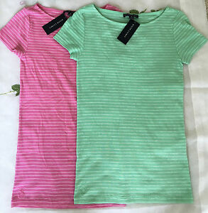 Pink and green striped women t0shirts