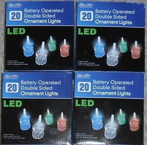 LOT-4-SANTA-CLAUS-LED-BATTERY-OPERATED-DOUBLE-SIDED-ORNAMENT-CHRISTMAS-LIGHTS