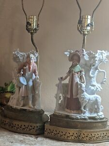 Vintage-Porcelain-Dresden-pair-of-table-lamps-with-brass-base-Germany