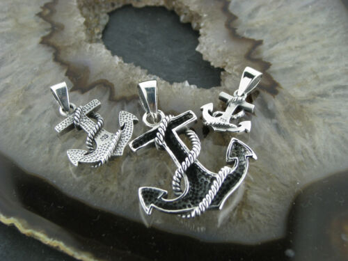 Old School Silver Chain Pendant Anchor Anchor Rope Anchor 925er Silver 3 Sizes