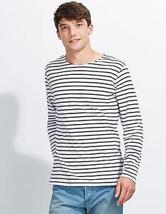 Herren Longsleeve Striped T-Shirt Marine gestreiftSOLs