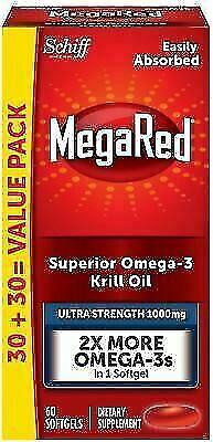 MegaRed Ultra Strength Superior Omega-3 Krill Oil, 1000mg, 6