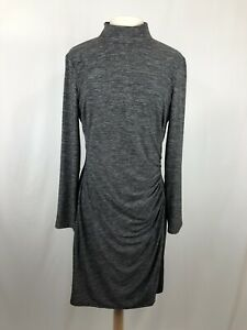 Chaps-Sz-14-Women-039-s-Sheath-Dress-Ruching-Mock-Turtleneck-Long-Sleeve-Marled-Gray