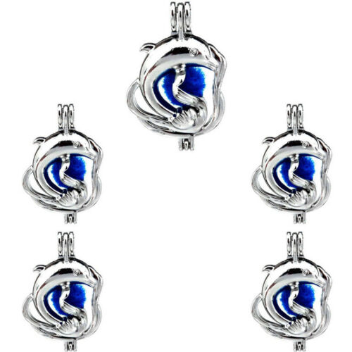 5X-K311 Beads Cage Locket Ocean Animal Large Dolphin Pearl Cage Pendant