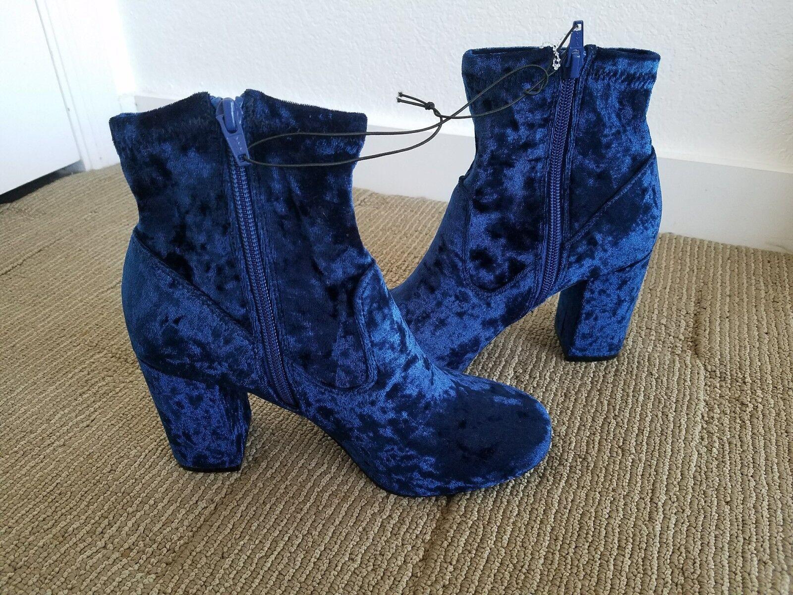 Carlos by Carlos Santana bottes bleu velours, talon bloc Taille 7 m NEUF