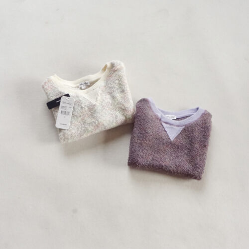 NEW Kids Girls Cotton Knit Sweater Pullover Top Cream or Purple size 2.3.4.5.6x