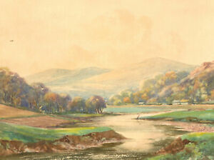 1882 Watercolour - River View and Mountains