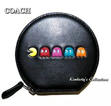 COACH X PAC-MAN Limited Edition Black Leather Ghost Coin Purse Case NWT!