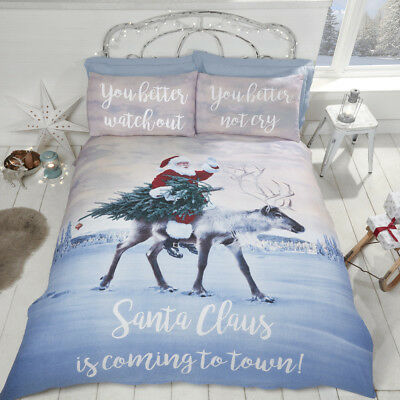 Photographic Santa COMING TO TOWN Duvet Quilt Cover Bedding Set + Pillowcases