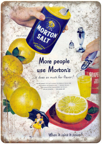 "Morton Salt Vintage Ad 10/"" X 7/"" Reproduction Metal Sign N397"