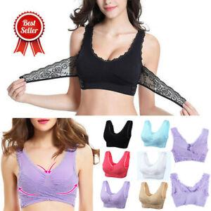 AU-Womens-Adjustable-Front-Cross-Lace-Yoga-Bra-Buckle-Side-Wireless-Crop-Top-Bra