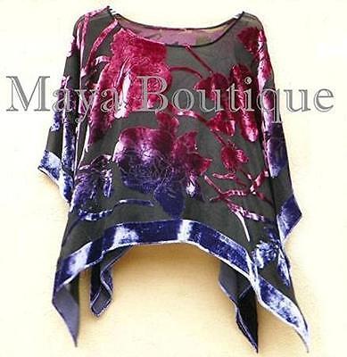 Maya Matazaro Silk Poncho Shawl Top Bohemian Burnout Velvet Made in USA