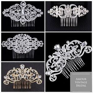 Vintage Mariage Cheveux Peigne Or/cristal Argent Brillants Pince à Cheveux Head Piece-afficher Le Titre D'origine