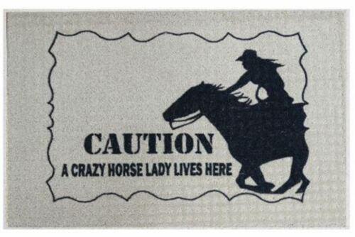 """New 27/"""" x 18/""""  Indoor Outdoor Carpet Welcome Door Mat /""""Crazy Horse Lady/""""!"""
