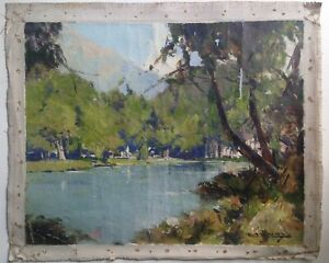 Antique-Oil-French-Impressionist-painting-Lake-in-French-by-Leon-LAUNAY