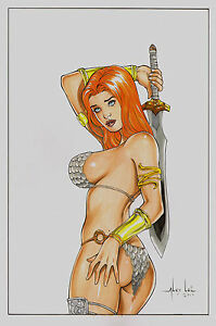 RED SONJA 2 BY ALEX LEI- ART PINUP Drawing Original