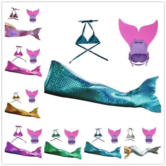 Cos Gift Girls Boys Kids Swimmable Sparkle Scale Mermaid tails With monofin