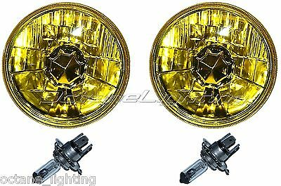 "5-3/4"" Halogen Amber Yellow Glass Headlight Fog Light H4 60W Light Bulbs Pair"