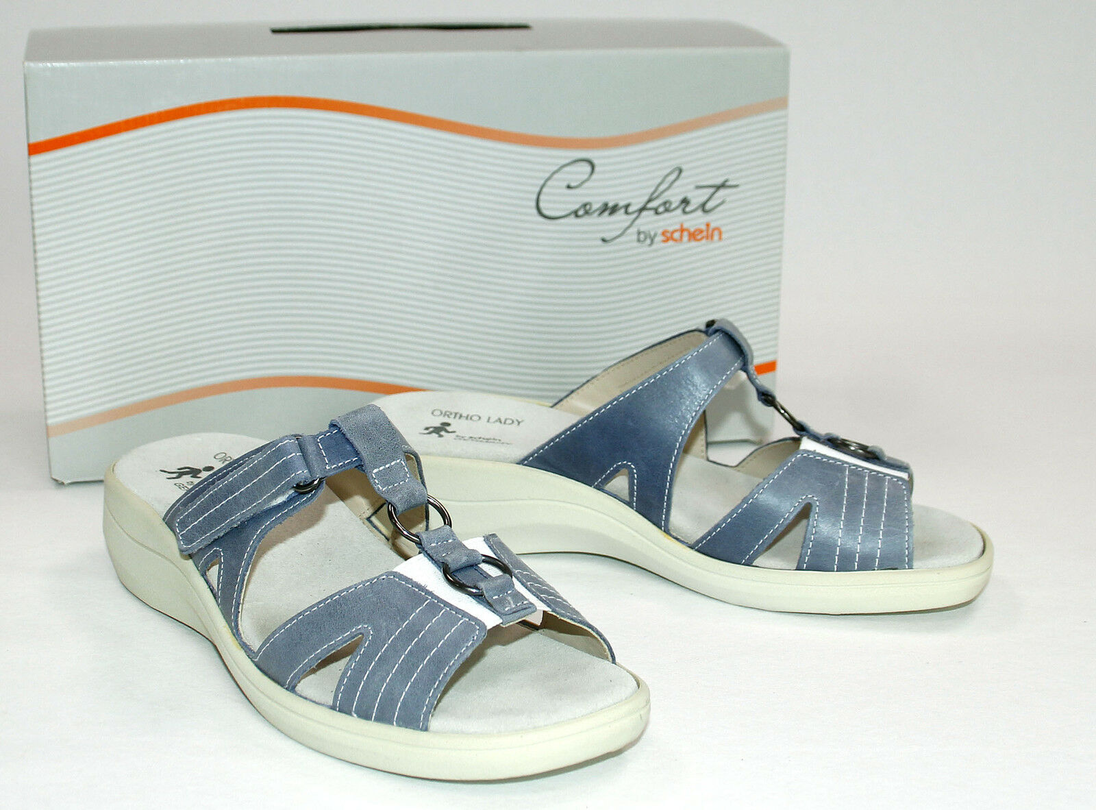 Ortho Lady Damen Sandale Pantolette metallic blau Größe 38,5