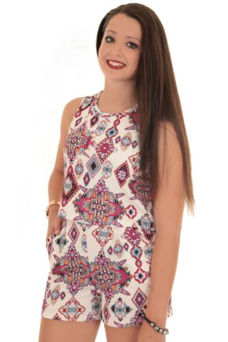 Ladies Sleeveless Floral Aztec Crepe Textured Open Back Flare Romper Playsuit