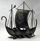 Mid Century Modern Norse VIKING SHIP Metal Statue Norway Sculpture Norwegian VTG