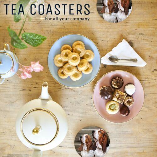 1 x obéissant Bassett Hounds-Round Coaster Cuisine étudiant enfants cadeau #16330