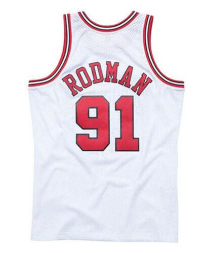 White Chicago Bulls Dennis Rodman # 91 Retro Swingman Basketball Jersey Stitched