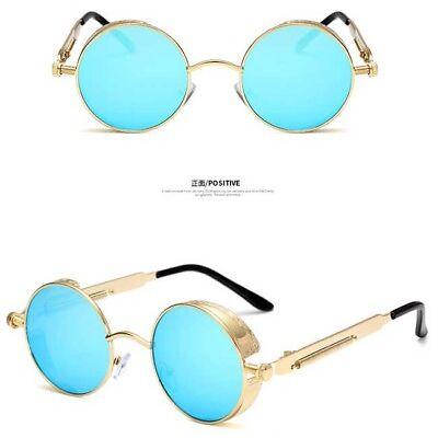 Vintage Men Polarized Steampunk Sunglasses Women Round Metal Frame Retro Glasses