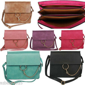 Ladies-Designer-Multi-Pockets-Flap-Messenger-amp-Cross-Body-Bag-Satchel-With-Chain