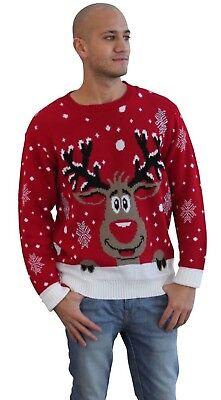 New Men's Adults Vintage Retro Reindeer Rudolph Knitted Christmas Xmas Jumper üBerlegene Materialien