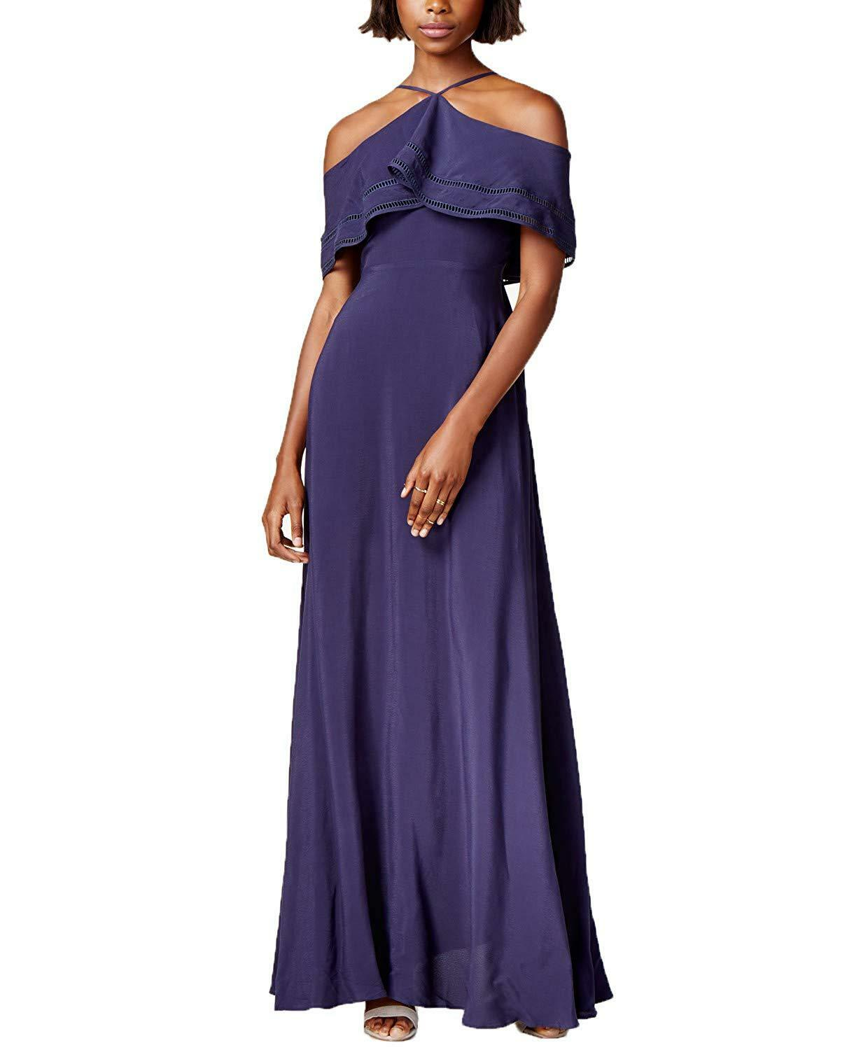 Mare Mare Women's Ruby Cold-Shoulder Long Dress Gown (Navy, Medium)