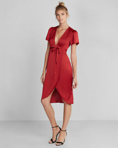 0d5e72fdb732 Nwt express plunge front silky wrap midi dress red 00 sz 07920250 ...