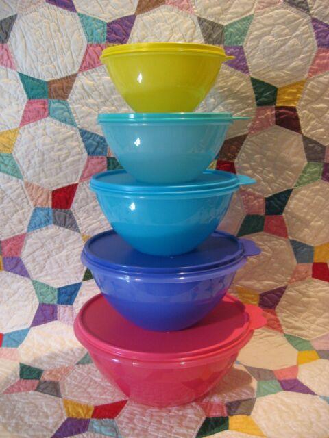 TUPPERWARE Wonderlier BOWL Set 5 Mixing PINK~Blue~Green Classic Pastel Tower NEW
