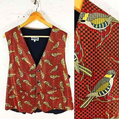 Memphis Milano 80s 90s Vintage Seta Italiana Bird Con Motivi Panciotto Rosso Xl-mostra Il Titolo Originale Garanzia Al 100%